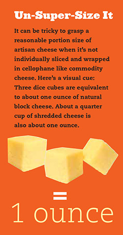 It can be tricky to grasp a  reasonable portion size of  artisan cheese when it's not  individually sliced and wrapped  in cellophane like commodity cheese. Here's a visual cue:  Three dice cubes are equivalent  to about one ounce of natural block cheese. About a quarter  cup of shredded cheese is  also about one ounce.